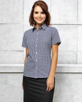 Popelin-Damenhemd mit Vichy-Karo, kurzärmelig